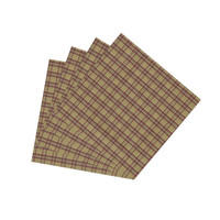 Tan And Red Plaid Fabric Napkin Set of 4