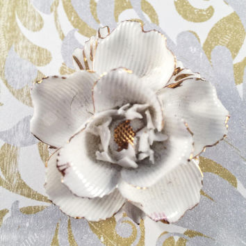 "Vintage China White Rose Brooch, Signed ""Made In England,"" Elegant, Classic, Timeless"