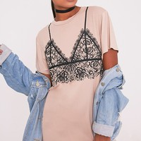 Lace Bralet Print Nude T-Shirt Dress