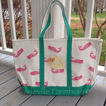 Monogrammed Canvas Open Top Printed Whale Tote