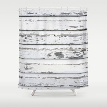 White Fence - Shower Curtain - Rustic Decor - Farmhouse Chic - Summer - Spring Decor - Farmhouse Chic - Boho Decor - Cabin Decor - Cottage