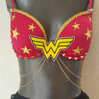 wonder woman decorated rave/halloween bra