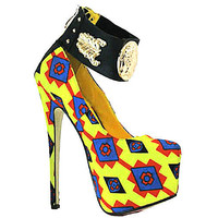Love-at-First Yellow Multi Ankle Strap Platform Pump Stiletto Heels