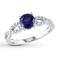 Lab-Created Sapphire Ring 1/15 ct tw Diamonds 10K White Gold