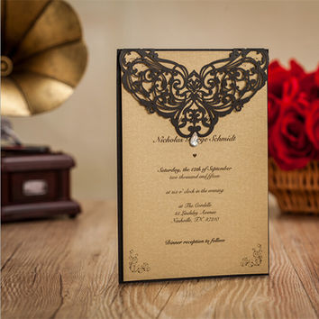Laser Cut Creative Wedding Invitations Paper Cards Diamond Decoration Noble Party Printable Romantic Invitation Card 50pcs/lot