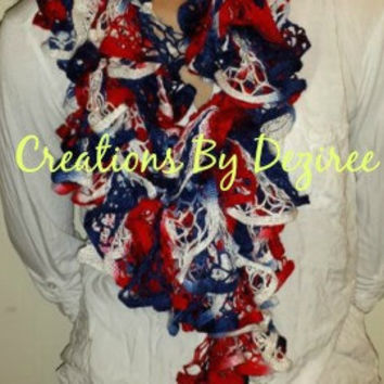 RED WHITE & BLUE Ruffle Scarf!!