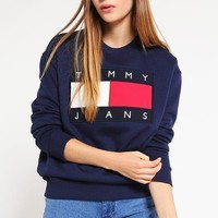tommy jeans fashion long sleeve pullover sweatshirt top sweater-2