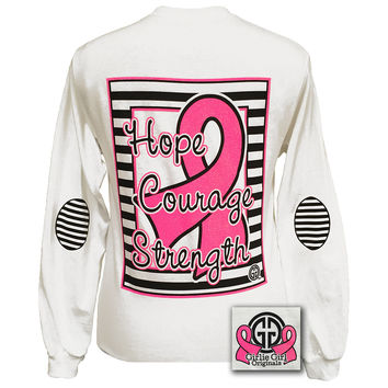 be1150969 Girlie Girl Preppy Hope Courage Strength Breast Cancer Bright Long Sleeve T  Shirt