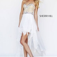 White Sherri Hill 1920 High Low Prom Dress [1920] - $175.00 : 2015 Dress Gown Store|DressGownStore.com