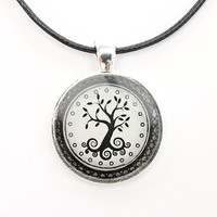 Tree of Life Necklace FREE SHIPPING Boho necklace. Black and White Original Design. Spiritual Jewelry. Handmade Jewelry