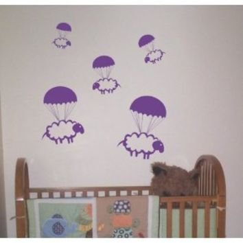 Parachuting Sheep Decals Stickers Wall Art Graphic Baby Room Count Cute Animal Nursery Boy Girl Sleep Bedtime