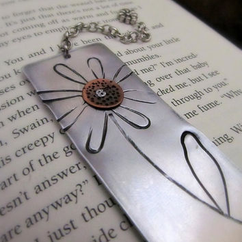 Mixed Metal Bookmark Hand Stamped Flower by FiredUpLadiesHammer