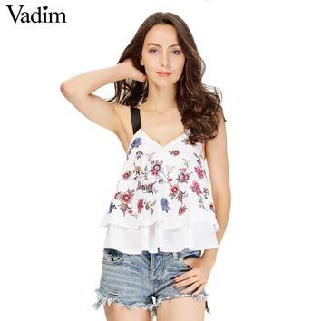 Women sexy V neck floral embroidery crop top sleeveless backless shirts ladies summer casual cute tops blouses