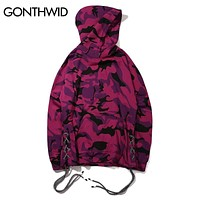 Camouflage Hoodies Men Swag Side Drawstring Sweatshirts Hip Hop Casual Hooded Sweatshirt Red Purple