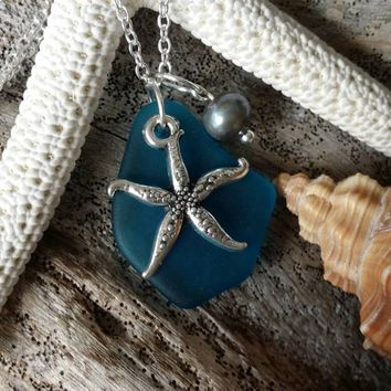 Design and handmade in Hawaii, Teal blue sea glass necklace,Sea star charm ,Natural  purple pearl, 925 sterling silver chain, gift box