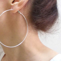 Large Silver Hoops, 3,5 inch Hoop Earrings, Simple boho chic bohemian gypsy tribal belly dance bold earring
