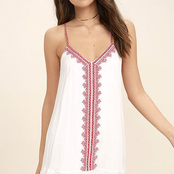 Sweeten the Deal Red and White Embroidered Dress