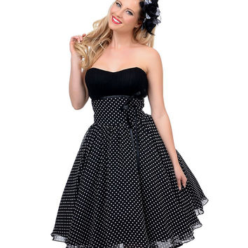 Unique Vintage Dixie Polka Dot Strapless Dress