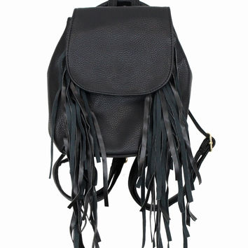 Black Fringe Backpack