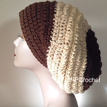 3-tone Brown Beanie | Large | Ready to Ship | Adult | Slouchy Beanie | Locs | Men | Women | Bad Hair Day