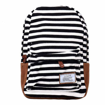 Women's Canvas Double-Shoulder Sweet Stripe Zipper Schoolbag Preppy Style Black Backpack