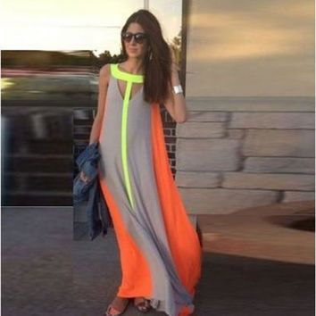 Summer Women Sexy Casual Patchwork Sleeveless Maxi Dress