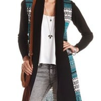 Geo-Patterned Duster Cardigan Sweater - Black Combo