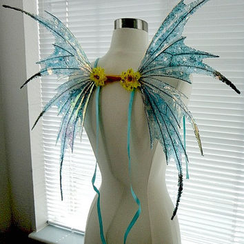 Fairy Wings-Iridescent Turquoise Sprite Adult and Children (Made to Order by Request)