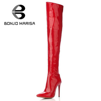 BONJOMARISA Patent Leather Over Knee High Boots Night Club High Heels Party Wedding Less Platform Shoes For Woman Big Size 34-43