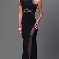 Black Floor Length Open Back Prom Dress with Nude Design