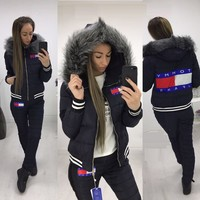 One-nice™ Tommy Hilfiger Winter Fashion Women Hoodie Top Sweater Trousers Two-Piece Down jacket