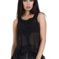 Jawbreaker Clothing Chiffon Crochet Top | Attitude Clothing