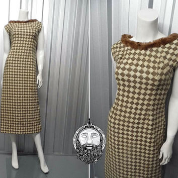 Vintage 60s Wiggle Dress Wool Knit Diamond Pattern Harlequin Dress Real Fur Trim Sleeveless Dress Maxi Dress Mink Trim Knitted 1960s Mad Men