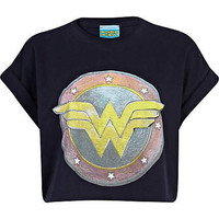 Navy Wonder Woman print cropped t-shirt - crop t-shirts - t shirts / tanks / sweats - women