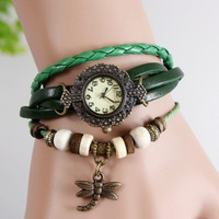 Vintage Weave Wrap Around Charms Beads Leather Bracelet Quartz Wrist Watch dragon fly = 1841370116