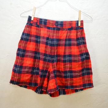 90s High Waisted Plaid Cutoff Shorts / High Rise /  Shorts / High Waist Rise / Grunge / 1990s / xs Small /  26 27 25