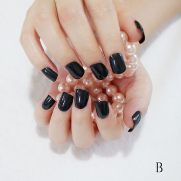 24 Hot Nail Refined Sugar Lovely Colors Fake Nails Middle Paragraph Shiny Surface Black B