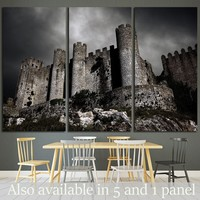 Disturbing scene with medieval castle at night with stormy sky №1791