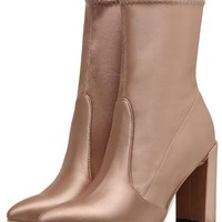 Champagne Gold Satin Look Pointed Toe Heeled Boots