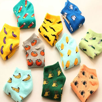 New Cute Candy Color Cotton Sock Summer Style Socks Fruit Eggplant Tomato Printing Socks For Women