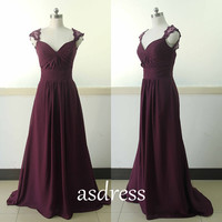Mother of the bridal burgundy Cap Sleeve Chiffon Prom Gown Sweetheart Dance Homecoming Dress Backless Gowns Lace Dark Red Bridesmaid dresses