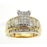 Diamond Ladies Fashion Ring with Square Princess in 14k Gold 1 ctw