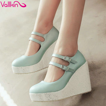 VALLKIN Sweet Girl Wedges High Heel Women Pumps Summer PU Leather  Wedding Shoes Round Toe Ankle Strap Platform Woman Pumps