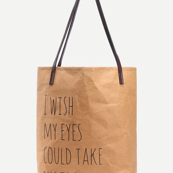 Camel Kraft Paper Tote Bag With Striped Canvas Lining