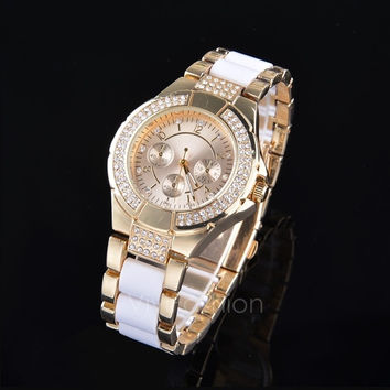 Fashion New Lady Womens Crystal Bracelet Gold Dress Quartz Wrist Watch  VVF = 1956882244