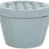 Andrew Sky Blue Tufted Round Storage Ottoman