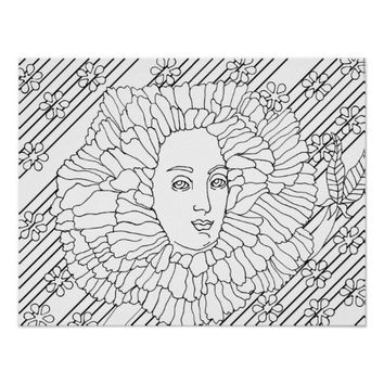 Enchanted Flower Man Coloring page Poster
