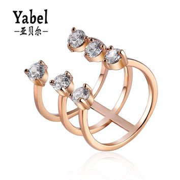 Open Three-banded CZ Stone Copper Ring Newest Rose Gold-color Women Wedding Rings