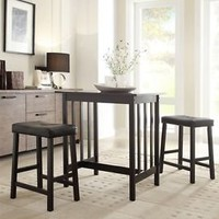 NEW 3PC Black Kitchen Counter Height Dining Set Pub Bar Table Stools Chair Small