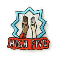 High Five Embroidered Sew or Iron-on Backing Patch